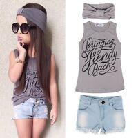 3pcs Kids Baby Girls Summer Outfit Headband+T-shirt Tops+Jeans Pants Clothes Set