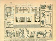 Document ancien plan d'un abattoir modèle issu du livre de 1922
