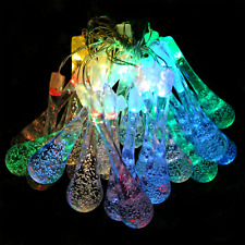 Solar Powered Water Drop String Lights - 30 LED Multi Colored, 8 Modes