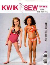 Kwik Sew Sewing Pattern K4168 Girls Swimsuits Size XXS-L Kerstin Martensson