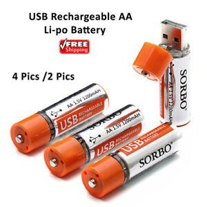 4 PCS SORBO 1.5V 1200mAh USB Rechargeable 1 Hour Quick Charging AA Li-po Battery