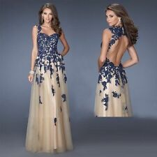 New Fashion Lace Applique Backless Prom Ball Gown Evening Pageant Dress custom
