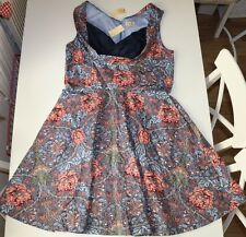 LINDY BOP- VINTAGE RETRO BLUE FLORAL ELASTIC COTTON SWING DRESS -UK22 EUR50 NEW