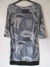 NEW & TAGS LADIES WOMEN'S TUNIC STYLE DRESS GREY MIX PAISLEY PRINT SIZE 8 EU 36