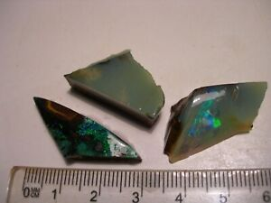 (Lot 2186) 3 Boulder Opal pieces,all different opal colours for some fun stones,