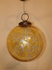 Christmas Ornament ~yellow glass ball with silver glitter snowflakes