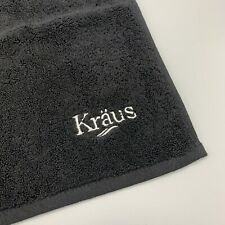 Kraus Black 100% Cotton Embroidered Golfbag Hand Towel With Hook 16 in x 16 in