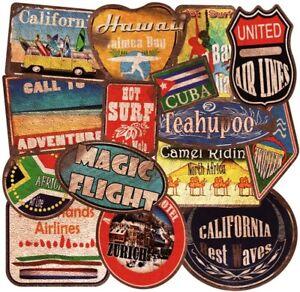 36 Luggage Suitcase Retro Vinyl Stickers Vintage City Names World Travel UK NEW