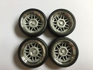"""1/18 scale Modified Tuning REAL ALUMINIUM 15"""" SNOWFLAKES WHEELS in SILVER"""