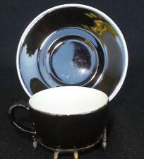 Vintag Black & white Heavy Duty Demitasse Espresso, Chocolate, Tea Cup & Saucer