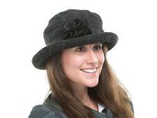 BRAND NEW LADIES BLACK FASHION WOOL CASUAL TWEED CLOCHE STYLE KIERA BL89