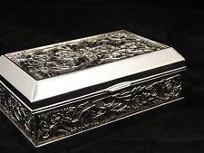 Medium Rectangular Silver Color Jewellery Trinket Treasure Chest / Box Design #2