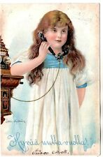 1906 GIRL with WALL TELEPHONE ERICSSON SWEDEN ANTIQUE POSTCARD FINLAND RUSSIA