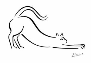 PABLO PICASSO * LINE DRAWING CAT  LARGE A3 SIZE QUALITY CANVAS ART PRINT