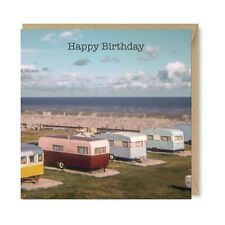 Unique Vintage Retro Greetings Card - Coastal Caravans 1960s Nostalgia Birthday