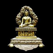 Tibet Buddhism Bronze 24K Gold gem Beautiful flowers Sakyamuni Buddha Statue 32C
