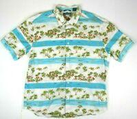 VTG Island Scene Hawaiian Shirt M/L 90s Blue Hawaii Kurt Cobain Aloha Grunge