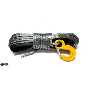 Synthetic winch rope 11mm 28m with hook! 11800kg breaking strain! Grey