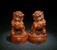 Noble feng shui Decor Old Boxwood carve Pair Foo Fu Dog Guardian Lion Statue
