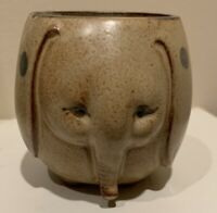 Cute Vintage 1970's Elephant Shaped Ceramic Stoneware Pottery Mug Cup