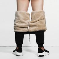 Men Long Casual Cargo Winter Warm Trousers Fleece Joggers Thicken Sweatpants New