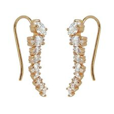 Ear Cuff Sweep Climbers Cartilage Rose Gold Plated Oval Cubic Zirconia Earrings