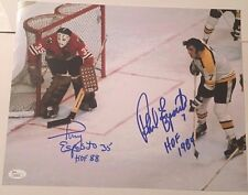 TONY PHIL ESPOSITO SIGNED 11X14 PHOTO BRUINS BLACKHAWKS HOF JSA