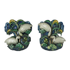 Chinese Glazed Pottery Wall Pockets with Birds