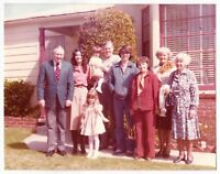 Vintage 70s PHOTO Family Pic w/ Grandparents, Parents, Little Girls, Teen Boy