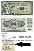 Jugoslawien Banknote UNC 1000 Dinara 1978 Belgrad P-92a mit druckfehler GUVERNE
