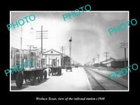 OLD LARGE HISTORIC PHOTO OF WESLACO TEXAS, THE RAILROAD DEPOT STATION c1940