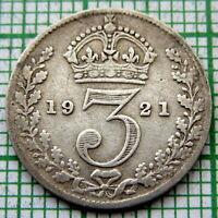 GREAT BRITAIN GEORGE V 1921 THREEPENCE 3 PENCE, SILVER