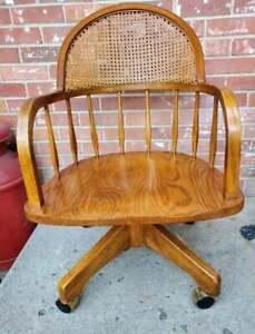 Antique Oak & Cane Bankers Office Desk Chair Swivel Rolling