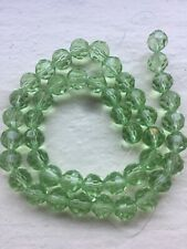 Spring Green Round 7mm Crystals 2 Strands 90 Beads