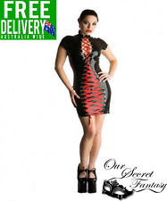 Sexy Black Latex Leather Wet Look Festish Red Lace Up Dress OS 8-12  (D1136)