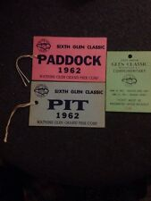 Sixth Annual Watkins Glen Classic Ticket Stub, Paddock And Pit Passes 1962