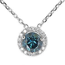 0.60ct Fancy Blue Diamond Halo Pendant Necklace 14k White Gold