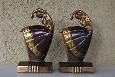 Vintage Art Deco Pair Copper Wash Bookends Girls Dancing Table Sculptures 1920s