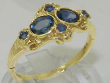 Engagement Cluster Sapphire Yellow Gold Fine Rings