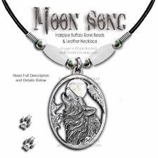 Wolf Moon Song Buffalo Bone Choker Necklace Wolves Western Art - Free Ship #W'