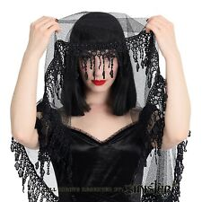 Sinister Gothic Long Black Net Mesh Wedding Veil w Embroidered Lace Trim