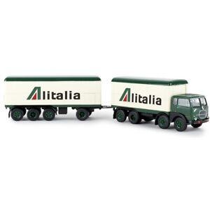 BREKINA 58432 Fiat 690 millepiedi Camion Fourgon Remorque Alitalia Ho 1:87