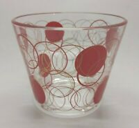 Vintage ICE BUCKET Glass Red Gold Overlapping Circles signed MIRA