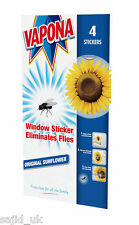 4x Vapona Window Stickers Sunflower - Insect Flies Wasp Pest Attractor Repel