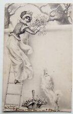 A/S Wichera LADY & Poodle DOG at Garden Wall Postcard 1904
