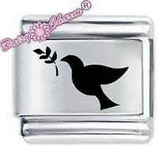 DOVE & OLIVE BRANCH * Daisy CHARM Fits Nomination Classic Size Italian Charm  -