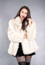 1126 GORGEOUS REAL BLUE FOX FUR COAT LUXURY FUR JACKET BEAUTIFUL LOOK SIZE M