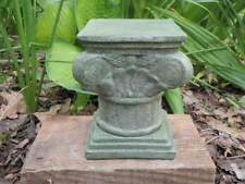 "6"" Tall Cement Pedestal Garden Green Concrete Statue Greek Style Plant Stand"