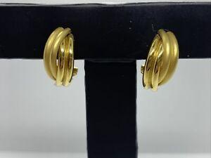 Vintage 18ct Gold Half Hoop Earrings Pierced Ears