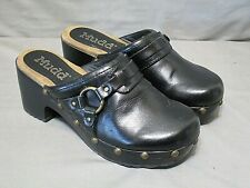 MUDD slip on mules size 7 m womens shoes black 3 in heel leather upper very nice